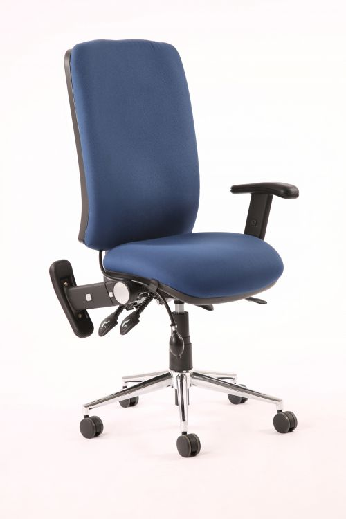 Chiro High Back Chair Blue With Adjustable And Folding Arms KC0002