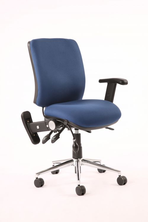 Chiro Medium Back Chair Blue With Adjustable And Folding Arms KC0004