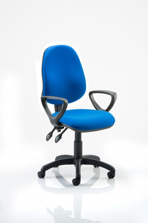 Eclipse II Lever Task Operator Chair Blue With Loop Arms