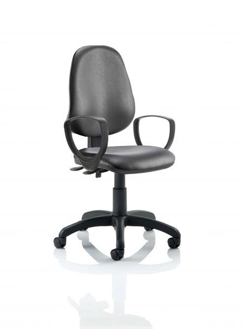 Eclipse II Lever Task Operator Chair Vinyl Black With Loop Arms