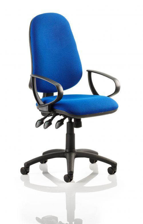 Eclipse XL Lever Task Operator Chair Blue With Loop Arms