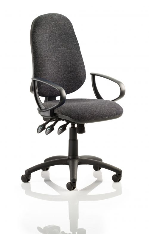 Eclipse XL Lever Task Operator Chair Charcoal With Loop Arms