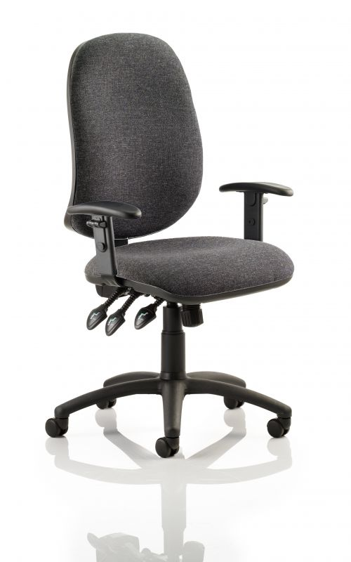 Eclipse XL Lever Task Operator Chair Charcoal With Height Adjustable Arms