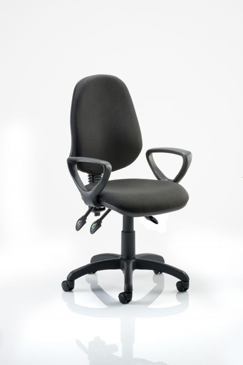 Eclipse III Lever Task Operator Chair Black With Loop Arms