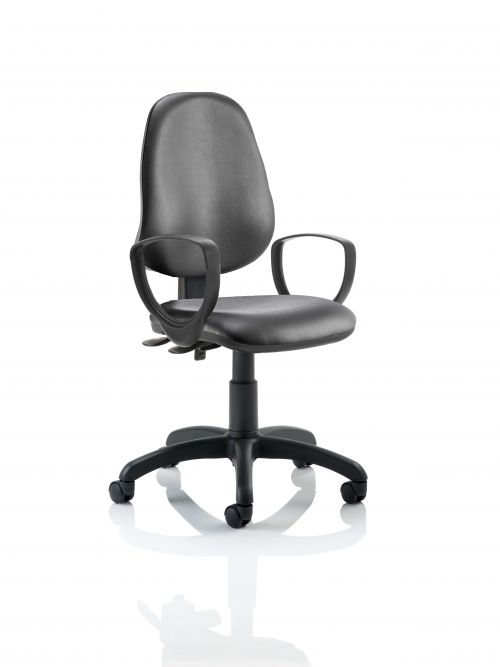 Eclipse III Lever Task Operator Chair Vinyl Black With Loop Arms