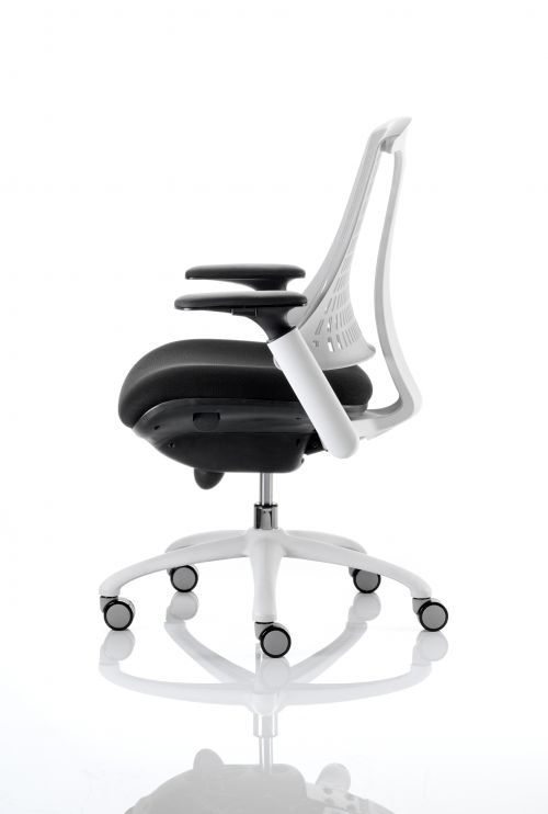 Flex Task Operator Chair White Frame Black Fabric Seat With Moonstone White Back With Arms