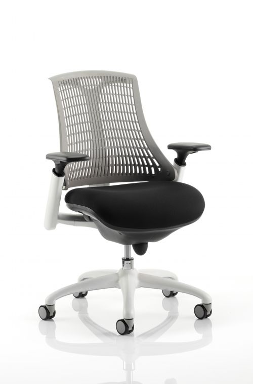 Flex Task Operator Chair White Frame Black Fabric Seat With Grey Back With Arms