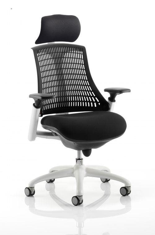 Flex Task Operator Chair White Frame Black Fabric Seat With Black Back With Arms With Headrest