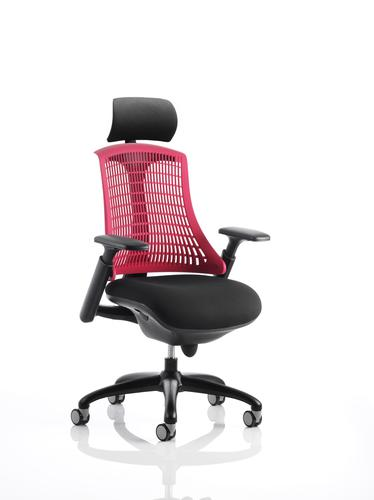 Flex Task Operator Chair Black Frame With Black Fabric Seat Red Back With Arms With Headrest