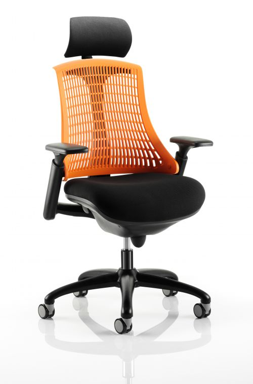 Flex Task Operator Chair Black Frame With Black Fabric Seat Orange Back With Arms With Headrest