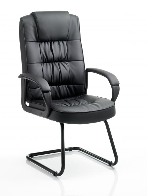 Moore Cantilever Visitor Chair Black Leather With Arms KC0151