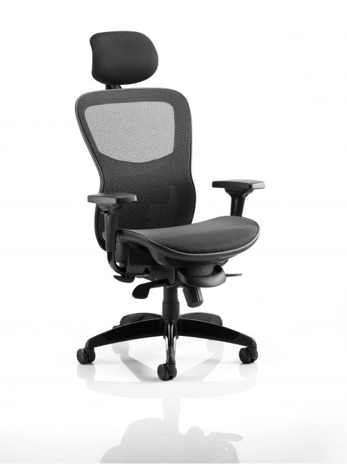 Stealth Shadow Ergo Posture Black Mesh Seat And Back Chair With Arms With Headrest
