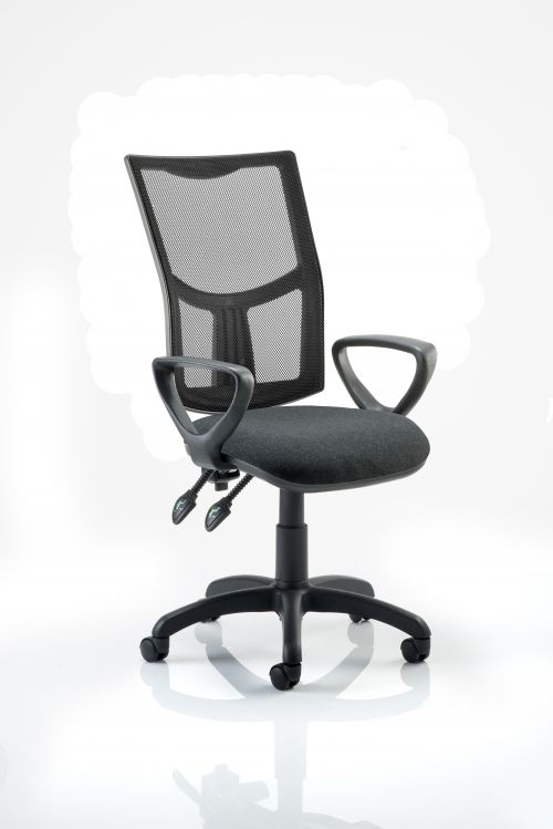 Eclipse II Lever Task Operator Chair Mesh Back With Charcoal Seat With loop Arms