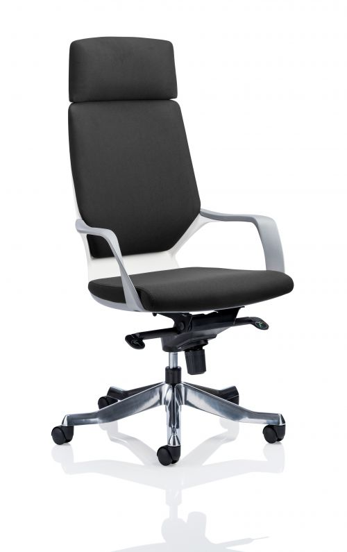 Xenon Executive White Shell High Back Black Fabric With Headrest