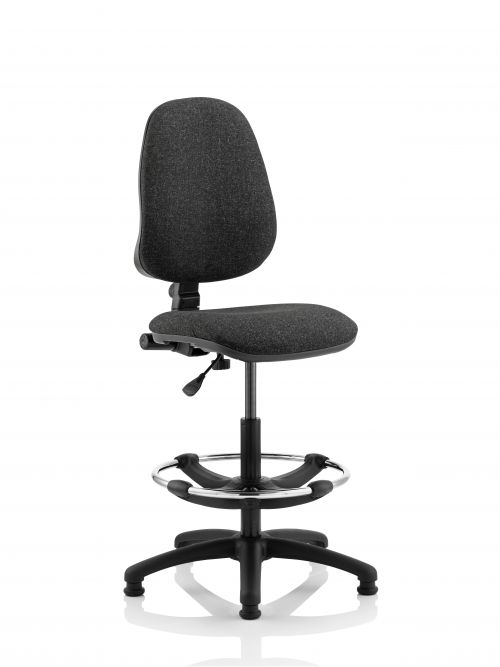 Eclipse I Lever Task Operator Chair Charcoal With Hi Rise Draughtsman Kit