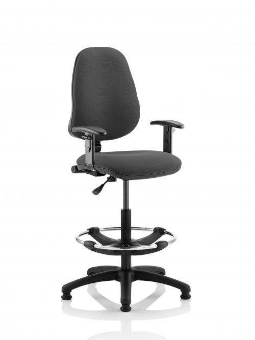 Eclipse I Lever Task Operator Chair Charcoal With Height Adjustable Arms With Hi Rise Draughtsman Kit