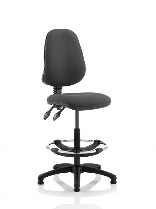 Eclipse II Lever Task Operator Chair Charcoal With Hi Rise Draughtsman Kit