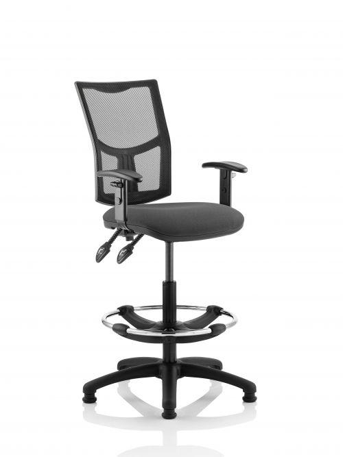 Eclipse Plus II Mesh Chair Charcoal Adjustable Arms Hi Rise Kit KC0271