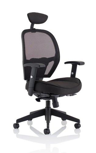 Denver Black Mesh Chair With Headrest KC0283