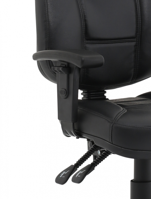 Jackson Black Leather Chair with Height Adjustable Arms KC0284