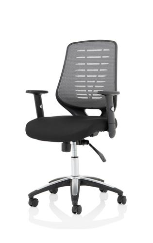 Relay Task Operator Chair Airmesh Seat Silver Back With Height Adjustable Arms KC0286