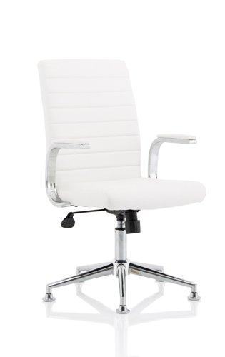 Ezra Executive White Leather Chair with Chrome Glides