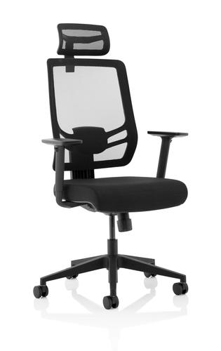 Ergo Twist Blk Fabric Seat Msh Back & HR KC0298
