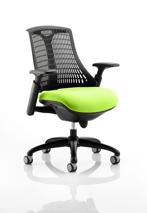 Flex Task Operator Chair Black Frame Black Back Bespoke Colour Seat Lime