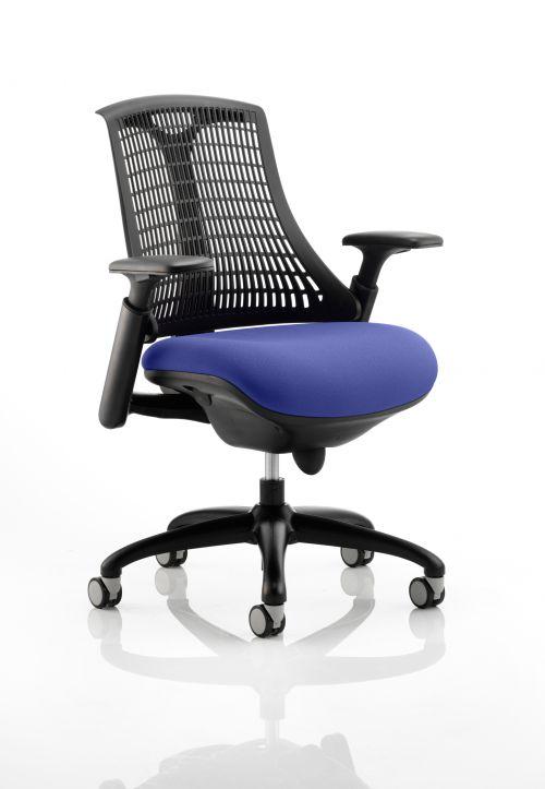 Flex Task Operator Chair Black Frame Black Back Bespoke Colour Seat Admiral Blue