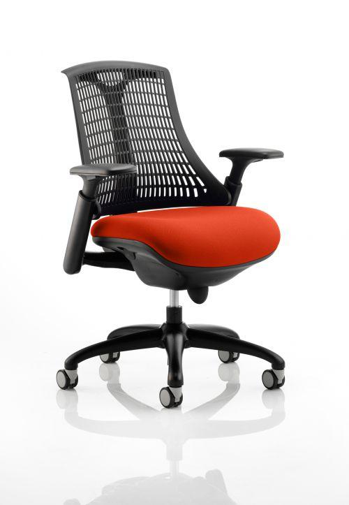 Flex Task Operator Chair Black Frame Black Back Bespoke Colour Seat Orange
