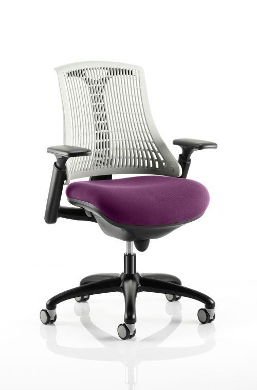 Flex Task Operator Chair Black Frame White Back Bespoke Colour Seat Purple