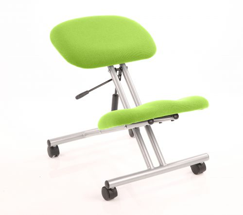 Kneeling Stool Silver Frame Bespoke Colour Myrrh Green