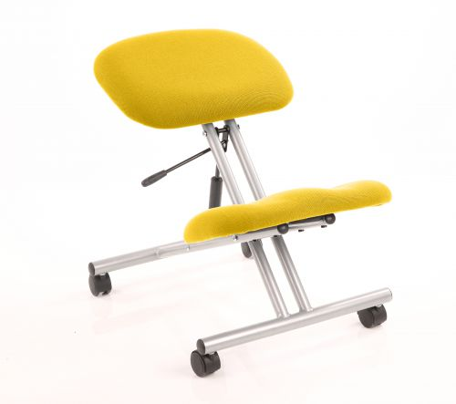 Kneeling Stool Silver Frame Bespoke Colour Senna Yellow