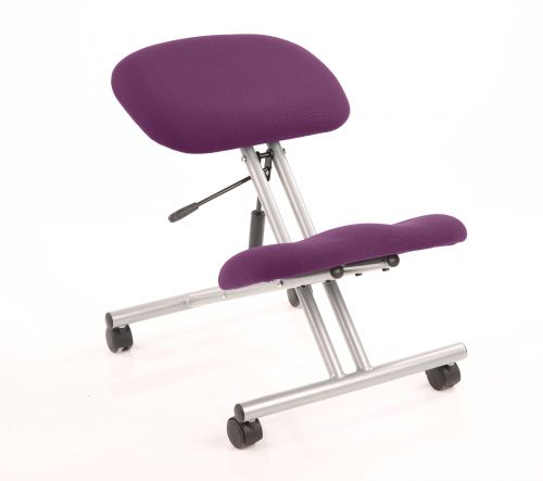 Kneeling Stool Silver Frame Bespoke Colour Tansy Purple