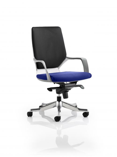 Xenon Executive White Shell Medium Back Bespoke Colour Seat Admiral Blue
