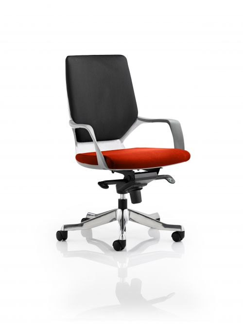 Xenon Executive White Shell Medium Back Bespoke Colour Seat Orange