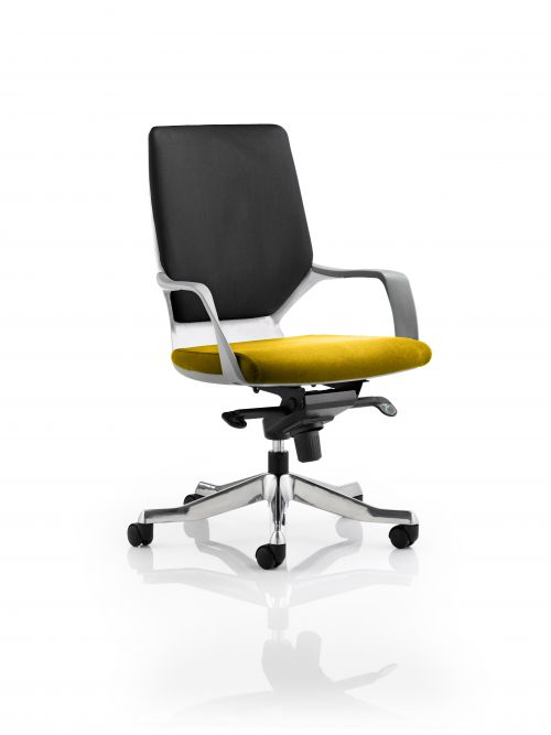 Xenon Executive White Shell Medium Back Bespoke Colour Seat Yellow