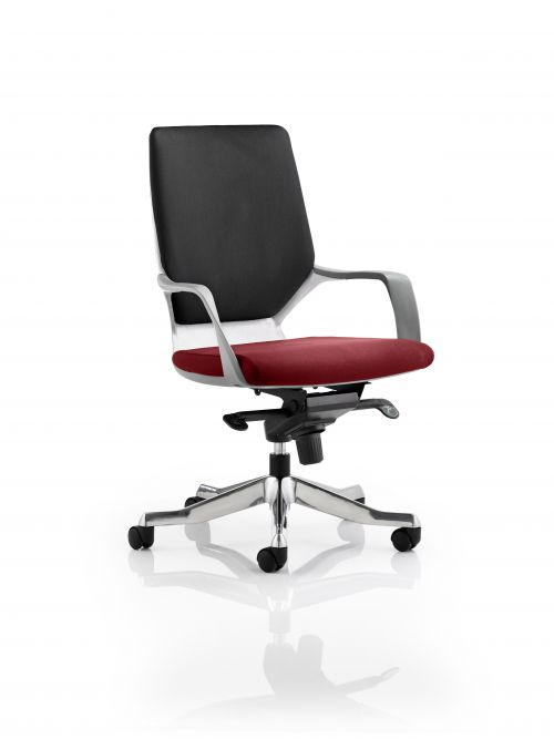 Xenon Executive White Shell Medium Back Bespoke Colour Seat Maroon