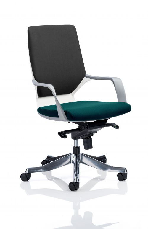 Xenon Executive White Shell Medium Back Bespoke Colour Seat Teal