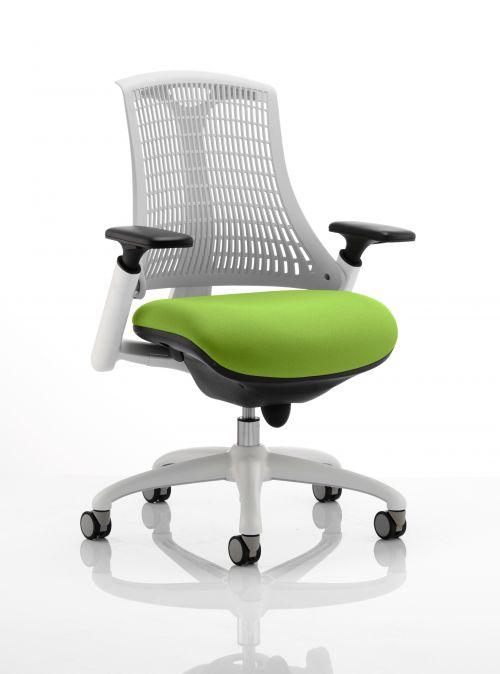 Flex Task Operator Chair White Frame White Back Bespoke Colour Seat Lime