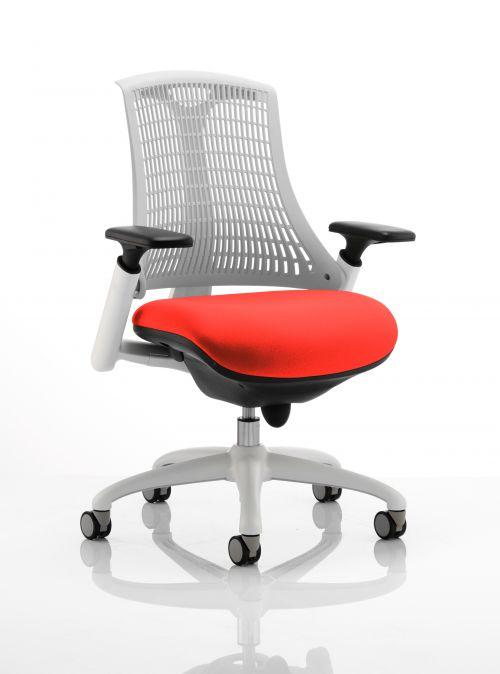 Flex Task Operator Chair White Frame White Back Bespoke Colour Seat Orange