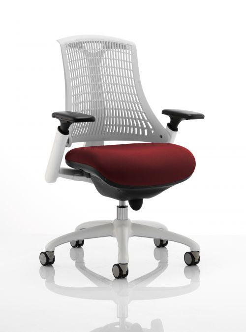 Flex Task Operator Chair White Frame White Back Bespoke Colour Seat Ginseng Chilli