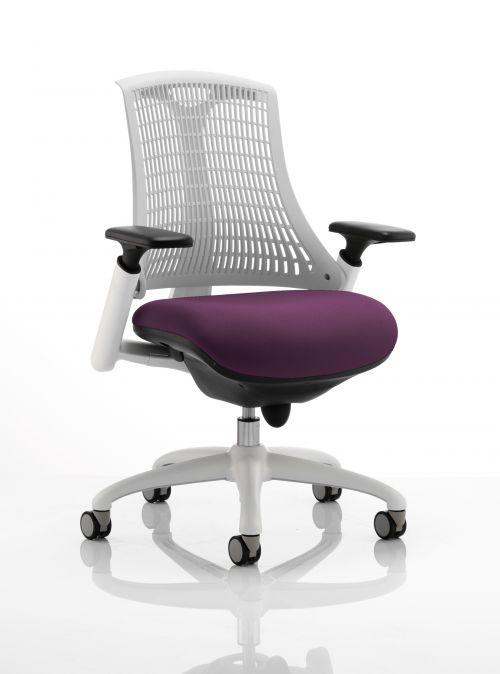 Flex Task Operator Chair White Frame White Back Bespoke Colour Seat Purple