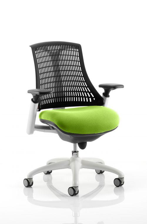 Flex Task Operator Chair White Frame Black Back Bespoke Colour Seat Lime