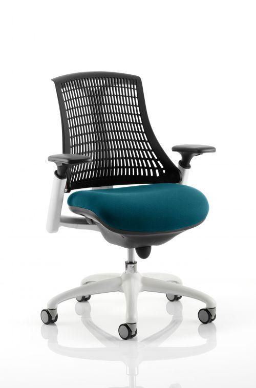 Flex Task Operator Chair White Frame Black Back Bespoke Colour Seat Teal