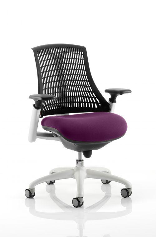 Flex Task Operator Chair White Frame Black Back Bespoke Colour Seat Purple