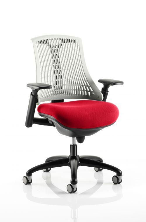 Flex Task Operator Chair Black Frame White Back Bespoke Colour Seat Post Box Red