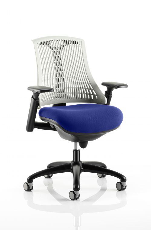 Flex Task Operator Chair Black Frame White Back Bespoke Colour Seat Admiral Blue