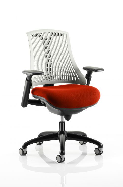 Flex Task Operator Chair Black Frame White Back Bespoke Colour Seat Orange
