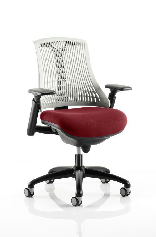 Flex Task Operator Chair Black Frame White Back Bespoke Colour Seat Maroon